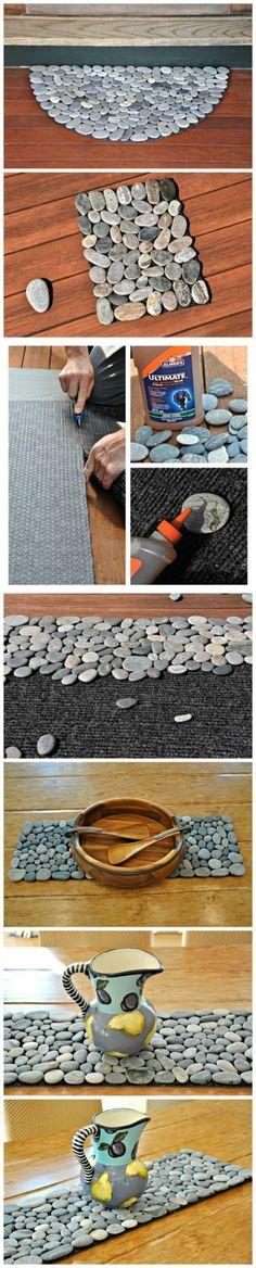 Een deurmat gemaakt van platte stenen, LEUK!