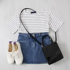 Simple and causal korean girly clothes Older Women Fashion, Teen Fashion, Fashion Outfits, Fashion 2018, Womens Fashion, Ulzzang Fashion, Asian Fashion, Pretty Outfits, Cute Outfits
