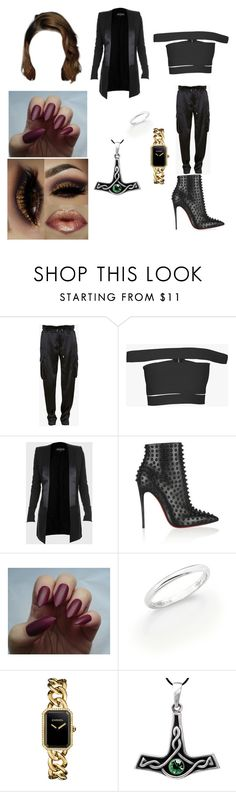 """1390"" by paukar ❤ liked on Polyvore featuring Balmain, Christian Louboutin, De Beers and Chanel"