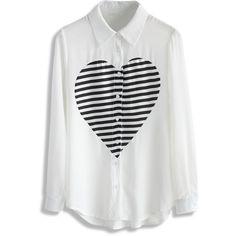Chicwish Pop Heart Chiffon White Shirt ($36) ❤ liked on Polyvore featuring tops, shirts, white, chiffon shirt, long shirts, heart print shirt, long sleeve shirts and striped sleeve shirt
