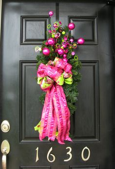 christmas clearance pink and lime green faux by thewrightwreath 5000 christmas decorations christmas door - Decorated Christmas Wreaths Pinterest