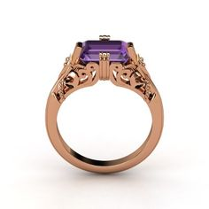 The Acadia Ring customized in amethyst and rose gold.