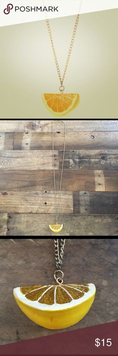 Marc Jacobs Lemon Fruit Slice Statement Necklace Necklace in good Preloved condition shows signs of wear and has red markings on bottom. Marc Jacobs Jewelry Necklaces