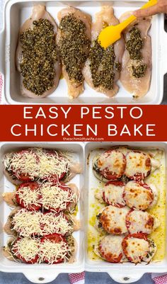 This delicious Pesto Chicken Bake is easy to make, throw in the oven for a fresh weeknight family meal! Made up of healthy protein packed chicken breasts, garlic, pesto, tomatoes, and mozzarella… Baked Chicken Cutlets, Baked Pesto Chicken, Best Low Carb Recipes, Healthy Recipes, Healthy Meals, Easy Recipes, Simple Spinach Salad, Tomato And Cheese, Fast Easy Meals