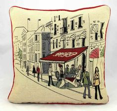 """Feather filled Street Cafe Tapestry Cushion 18""""x18"""": Amazon.co.uk: Kitchen & Home"""