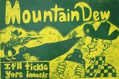 Mountain Dew Hillbilly Woodcut by seanstarwars on Etsy