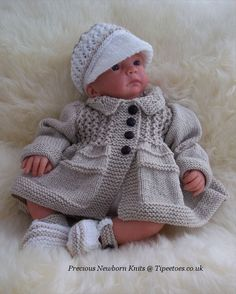 Baby Knitting Patterns and Reborn Dolls Knitting Patterns. (Precious Newborn Knits Ref: 'Tommy' – A gorgeous pattern to knit this adorable baby boys outfit. Pattern gives instructions to knit the collared jacket, peaked cap & t-bar shoes. Baby Knitting Patterns, Pattern Baby, Baby Patterns, Free Pattern, Baby Boy Jackets, Baby Vest, Vogue Knitting, Hand Knitting, Sweater Set