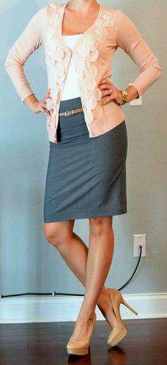 Pink cardigan, grey pencil skirt, belt
