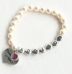 flower girl bracelet personalized, flower girl gift ideas, flower girl pearl bracelet, flower girl jewelry, gifts for flower girl, wedding
