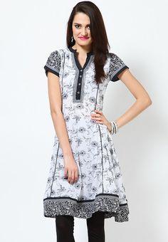 Cotton Anarkali White Kurta Online Shopping - Biba | BI021WA98RYZINDFAS