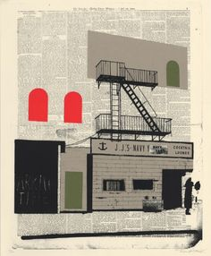 """Navy Yard Lounge by Evan Hecox  16"""" x 20"""", 4-color screen print on Cougar Natural, 100lb. paper, edition of 100, signed and numbered by  the artist.    http://www.evanhecox.com"""