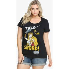 Torrid She-Ra Talk To The Sword Tee ($29) ❤ liked on Polyvore featuring plus size fashion, plus size clothing, plus size tops, plus size t-shirts, deep black, sports tops, black top, colorful t shirts, sport tops and sport t shirt