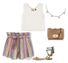 """""""SS - D - SHORTS, CROPPED TOP, SANDALS - MUTED MULTI STRIPES, WHITE"""" by laliquemurano on Polyvore featuring MANGO, Isabel Marant and Mulberry"""