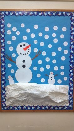 "Snowman Bulletin Board.  The ""snowballs"" have the staff names on them for the school that I work for."