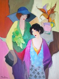"Original Painting ""Friends"" by Itzchak Tarkay"