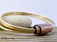 Triple Bangle, Stacking Bangles, Mixed Metals, Brass, Copper, Sterling Silver, Etched tube bead via Etsy