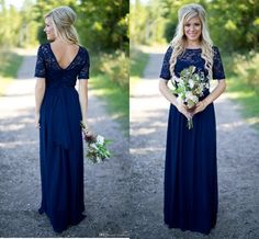 2017 Country Bridesmaid Dresses Hot Long For Weddings Navy Blue Chiffon Short Sleeves Illusion Lace Beads Floor Length Maid Honor Gowns