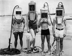 1933 Los Angeles. A group of boys show off diving helmets made from sections of hot water heaters boilers and other easily secured 'junk'. #LosAngeles #LA #boys #diving #helmet #innovation #ingenuity #cool #historicalpix by historicalpix