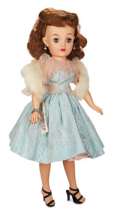 The Fabulous Fifties - Modern Dolls: 309 Miss Revlon in Pale Blue Brocade Dress by Ideal,c. 1956