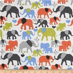 Michael Miller It's A Boy Thing Elephant Walk Sky Blue