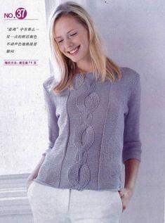 Пуловер с косой по центру. Женский свитер связанный спицами |