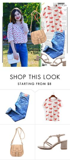"""""""Summer With Watermelon Print - Shein.com 7/9"""" by bebushkaj ❤ liked on Polyvore featuring Levi's"""