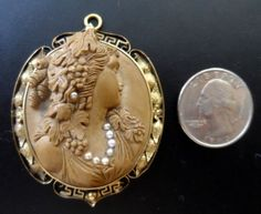 Beautiful-Antique-Victorian-Cameo-Bacchante-Brooch-Pendant-Lava-w-Pearls-in-14k
