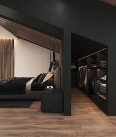 Black Bedroom Design, Attic Bedroom Designs, Room Design Bedroom, Home Room Design, Dream Home Design, Home Bedroom, Modern Bedroom, Home Interior Design, Interior Architecture