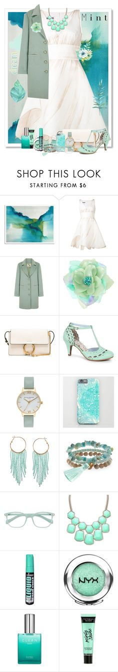"""""""Minty Dreamer"""" by allyssister ❤ liked on Polyvore featuring West Elm, ferm LIVING, Moschino, Yumi, Chloé, Bettie Page, Olivia Burton, Humble Chic, Panacea and EyeBuyDirect.com"""