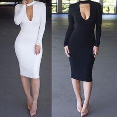 Women Turtleneck Casual Bandage Bodycon Long Sleeve Black Party Sexy Club Dress #Glinkin #Maxi #Clubwear