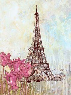 "Paris Fine art print 12"" x 16"" illustration poster drawing mixed media watercolor artwork Paris. $35.00, via Etsy."