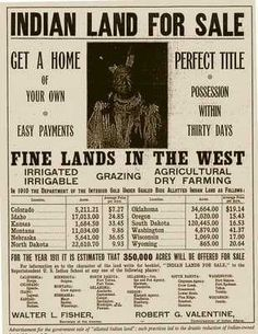 """☆ A 1911 ad offering former reservation land for sale. Most of the """"allotted indian land"""" sold the previous year was Sioux land -::- Author United States Department of the Interior ☆ Native American Genocide, Native American Wisdom, Native American Tribes, Native American History, American Indians, American Life, American Greed, Cherokee History, American Photo"""