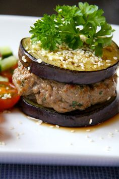 aubergine and beef burger by My Delishville