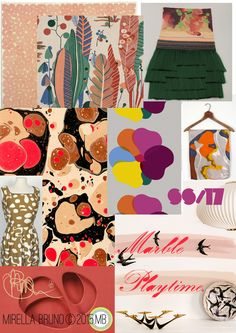 """Playing with print stories..For the more discerning and artistically inclined markets. """"Marble Playtime""""© Mirella Bruno Print Designs SS/17. Print/Colour and Direction inspirations/ predictions for personal upcoming projects. http://cargocollective.com/mirella-bruno-print-designs/Inspiration-Information"""