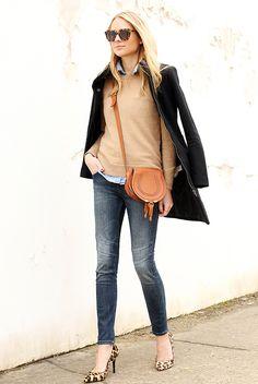fall / winter - street chic style - street style - fall outfits - winter outfits - casual outfits - back peacoat + camel sweater + denim shirt + skinny jeans + brown shoulder bag + brown sunglasses + leopard print heels