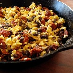 Filling for Chorizo & Black Bean Breakfast Burritos. Easy to make and delicious!