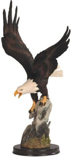 American Bald Eagle Before Flight while on Grey Rock Figurine