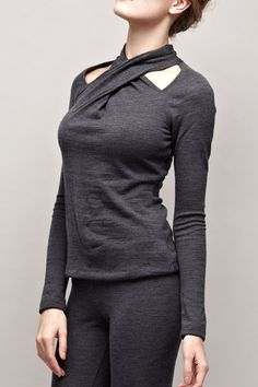 Turtleneck Sweater with Cut  Detail - Gray Sweater - Knit Sweater - Wool Sweater - Long Sleeve Sweater - Turtleneck Top - Free Shipping