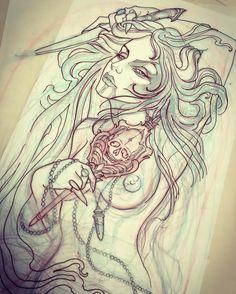 Part of my Elizabeth Bathory tattoo started late last night on the awesome Mrs. Kitten. #itsgoingtobeabloodbath #15thcenturyladykiller #todiefor @unkindnessart