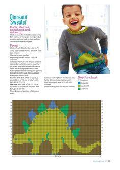 Knitting Crochet from Woman's Weekly September 2017 - 轻描淡写 - 轻描淡写 Crochet Dinosaur Patterns, Tapestry Crochet Patterns, Fair Isle Knitting Patterns, Sweater Knitting Patterns, Knitting Charts, Knitting Stitches, Knitting For Kids, Baby Knitting, Crochet Baby