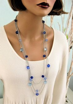 Blue Jeans Long Beaded Necklaces, Multi Strand Blue Beaded Necklaces, Silver Chain, Blue Beaded Necklaces, Multi Strand Long Necklace, N621