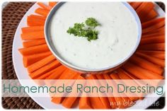 Homemade ranch dressing.  I heart ranch dressing so much, but I know the stuff in the bottle is bad for you.