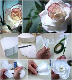Wie man Kaffee-Filter-Rosen selbst baut - Places Like Heaven How to DIY Coffee Filter Roses How to DIY Kaffeefilter Rose # diy & craft, Paper Flower Tutorial, Paper Flowers Diy, Handmade Flowers, Flower Crafts, Diy Paper, Fabric Flowers, Paper Crafts, Diy Crafts, Craft Flowers