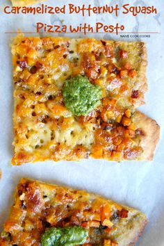 Caramelized squash, zesty pesto and creamy provolone & cheddar cheese on a whole wheat crust! Pizza night at its best!NaiveCookCooks.com