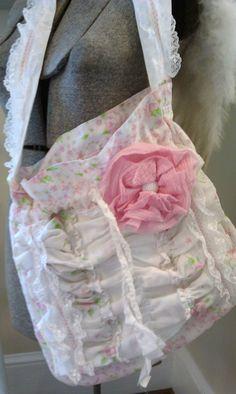 Pink Rosebud Ruffles and Lace Drawstring Girly bag