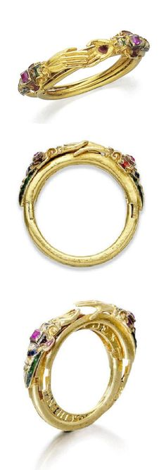 "A Renaissance gold, enamel and ruby 'fede' and quadruple gimmel ring, probably Dutch, circa 1580-1640. When the ring is parted each hoop reveals part of a hidden inscription engraved in Dutch that reads together as ""Two hearts in hidden love live in peace without a care what could be better than to live in such a way"". #Renaissance #antique #ring"