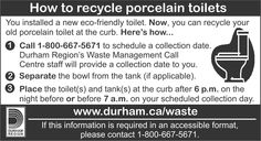 For all our Durham Neighbours... Information for Disposal of Ceramic Toilets....