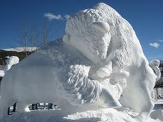 Snow sculpture is a sculpture form comparable to sand sculpture or ice sculpture in that most of it is now practiced outdoors, and often in . Pictures Images, Animal Pictures, Photos, Snow Sculptures, Sculpture Art, Frozen Castle, Buffalo Art, Denver Zoo, Ice Art