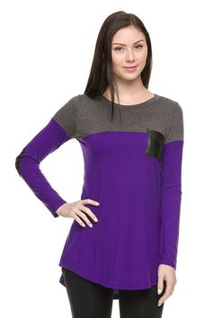 Colorblocked Long Sleeve Hi-Low Tunic Top