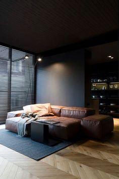 25 Modern Living Room Designs With Black Walls - Home Decor & Design Black And White Interior, White Interior Design, Black Home, Masculine Apartment, Masculine Bedrooms, Masculine Interior, Masculine Room, Espace Design, Interior Minimalista